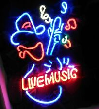 "New Live Music Guitar Cowboy Neon Sign Beer Bar Pub Gift Light Lamp 20""x16"""