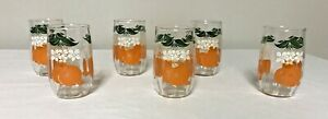 "6 Vintage Anchor Hocking orange juice glasses 3 1/2"" Tall"