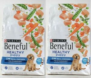 (2) Purina Beneful Healthy Puppy Real Chicken Peas Carrots Dry Dog Food 3.5 Lb