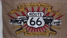 ROUTE 66 FLAG - CHICAGO - LOS ANGELES - GET YOUR KICKS ON ROUTE 66 - 1926 - 1985