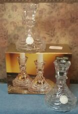 """Crystal Clear 24% Lead Crystal 5"""" Candlestick Holders - Set of Two"""