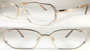 Elegant Neostyle Dynasty Damen Brille, Neusilber/Zirkonia im Gold Honig Farbe