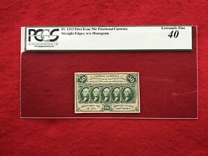 "FR-1313 First Issue 50c Cent Fractional Currency ""Straight Edge"" *PCGS 40 XF*"