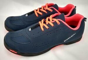 Louis Garneau Women LG Bike Cycling Shoes SIZE 8.5 Urban Dark Night Coral Cleats