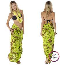 1 World Sarongs Womens Pareo/Sarong/Hawaiian Palm Leaf 8 - Green/Brown Cover-Up