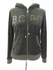 BCBG Hoodie Embellished Military Green Velour Jacket Zip 90's Womens Owl M $119