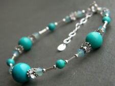 Turquoise Gemstones, Vintage & Swarovski Crystals & 925 Sterling Silver Bracelet