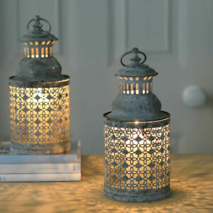 Antique Chic Moorish Grey Lattice Garden Candle Lantern Home Garden Patio 30cm