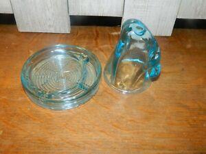 Blue Ice Glass 2 pc Set Bottoms Up Naughty Nude Shot Glass & Coaster Set