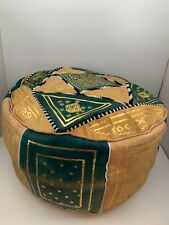 Old Vintage Moroccan Trade Pouf Handmade 100% leather Natural Authentic