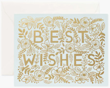 """RIFLE PAPER CO. Greeting Card & Envelope - """"BEST WISHES"""" Blank, Gold Foil Floral"""