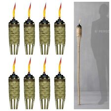 8 Pack Outdoor Patio Bamboo Tiki Torch Garden Path Light Torches Tall Flame NEW
