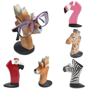 Animal Head Glasses Holder Stand 3D Mount Sunglasses Eyeglass Eyewear Wood Rack