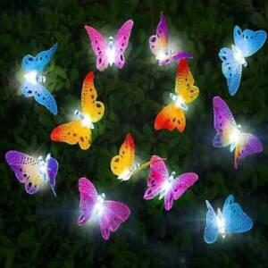 12Pcs LED Solar Powered Butterfly Fiber Optic Fairy String Outdoor Garden Lights