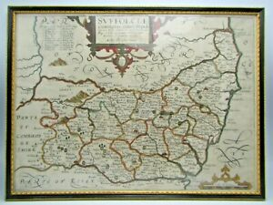 Antique 1637 LONDON Framed Map of Svffolciae Comitatus By CHRISTOPHER SAXTON