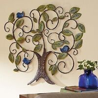 """Bluebird Adorned Metal Tree of Life Art Wall Hang Handcrafted Large 35.5"""" Nature"""