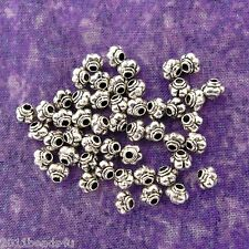 Antique Silver Alloy Metal Melon Beads/Spacers 50 Pieces 4.4mm #0345