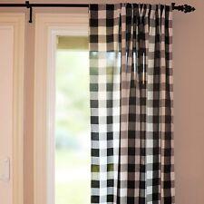 "Buffalo 2"" Checkered Polyester Curtain Window Treatment/Decor Panel Black White"