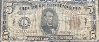 USA 5 Dollar 1934 A Hawaii Brown Seal Selten Silver Certificate Banknote #25338