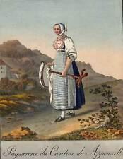 Schweiz Appenzell Trachtenblatt Kupferstich 1822 schönes dekoratives Original!