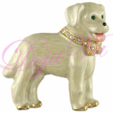 NEW CUTE CRYSTAL BEIGE DOG PIN BROOCH  MADE WITH SWAROVSKI ELEMENTS