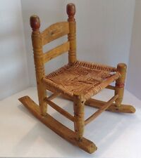 Antique Primitive Handcrafted Child's Rocking Chair Woven Seat Early 1900's ?