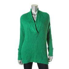 Lauren Ralph Lauren Womens Green Shawl Collar 100% Cotton Pullover Sweater L NWT
