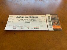 2002 Baltimore Orioles v New York Yankees Full Baseball Ticket Derek Jeter Hit