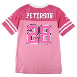 Adrian Peterson NFL Minnesota Vikings Mid Tier Replica Pink Jersey Girls (7-16)