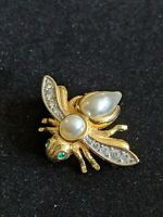 Vintage Joan Rivers Signed Gold Tone Faux Pearl Bumble Bee Pin Brooch Rhinestone