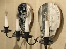 Pair Of Vintage 1950s Engraved Italian Venetian Glass & Bronze Wall Lights,wired