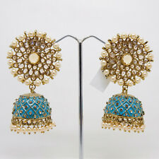 Bollywood Indian style mehandi plated designer jumki earing enameling jewellery