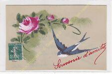 CPA CELLULOID Souvenir d'Amité Rose & Hirondelle Edit ca1918