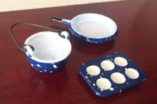 Dollhouse Miniatures Blue Spatterware Cooking Baking Pots Pans Set of 3