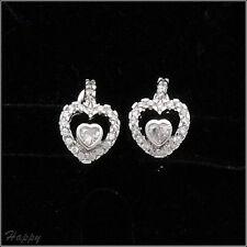 18K W GP Heart Love Wedding Party Earring Hoop Lady Costume Jewelry CZ Clear 493