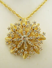 Nolan Miller Textured Crystal Flower Pin/Pendant Necklace