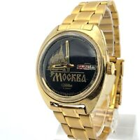 Vintage Mens Watch SLAVA Moscow Automatic Soviet Gold Plated Mechanical Black