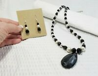 Onyx Black and Pearl Bead Pendant Necklace and Earring Set