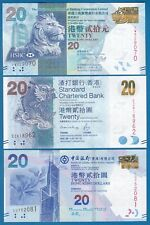 Hong Kong 3 notes x 20 Dollar 3 Different banks HSBC + BOC + Standard Chart. UNC