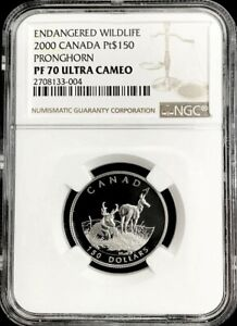 2000 PLATINUM CANADA 599 MINTED $150 PRONGHORN COIN NGC PROOF 70 ULTRA CAMEO