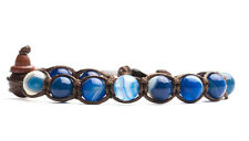 BRACCIALE ORIGINALE TIBETANO TAMASHII AGATA LACE BLUE - BLU STRIATA BHS900-141