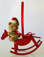 Mini Red Metal Rocking Horse Christmas Ornament with Teddy Bear Riding 3""