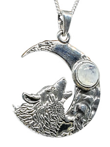 """Howling Wolf & Moonstone Crescent Moon Pendant 18"""" Curb Chain 925 Silver & Box"""