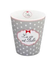 """Krasilnikoff Happy Mug Becher """"La vie est Belle"""" hellgrau"""