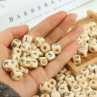 100Pcs/lot Wood Alphabet Letter Number DIY Beads Baby Teether For Jewelry Making