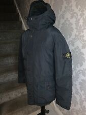 100% Genuine Men's Feather Down Navy Blue Stone Island Hooded Coat UK XL ❄️❄️
