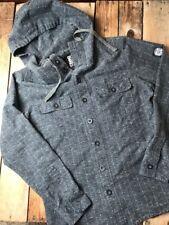 BILLABONG Men's Hooded Button Down Jacket Pinstripe Charcoal Cotton Linen S AA22
