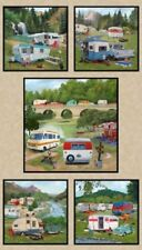 Caravan Retro Vintage Trailers Camp Park Earth Cotton Quilting Fabric Panel