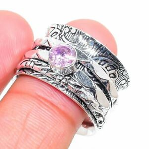 Amethyst Gemstone Handmade 925 Sterling Silver Jewelry Ring Size 7 F529