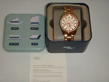 FOSSIL Women's Rose Gold Stainless Steel Watch Chronograph 38mm Crystals BQX3316